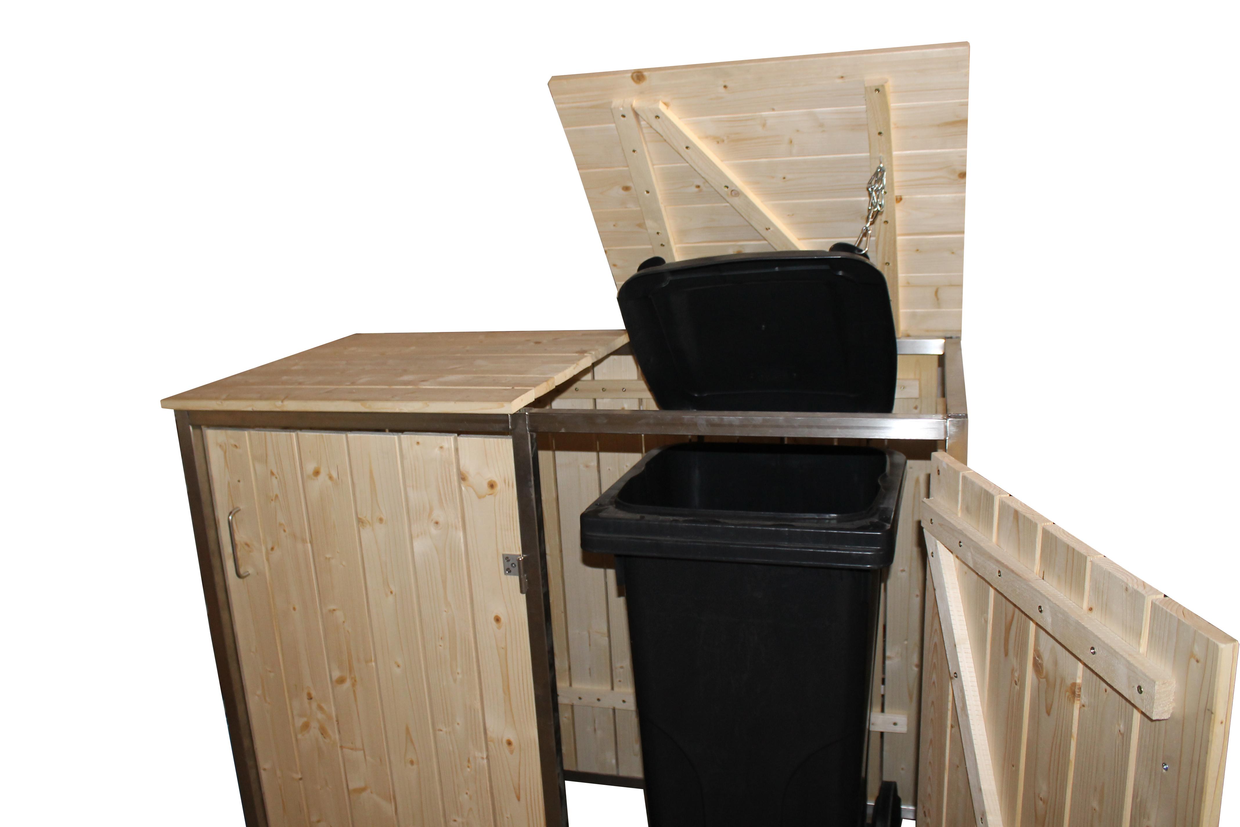 mülltonnenbox mülltonnenhaus aus edelstahl und holz 2x 120 liter