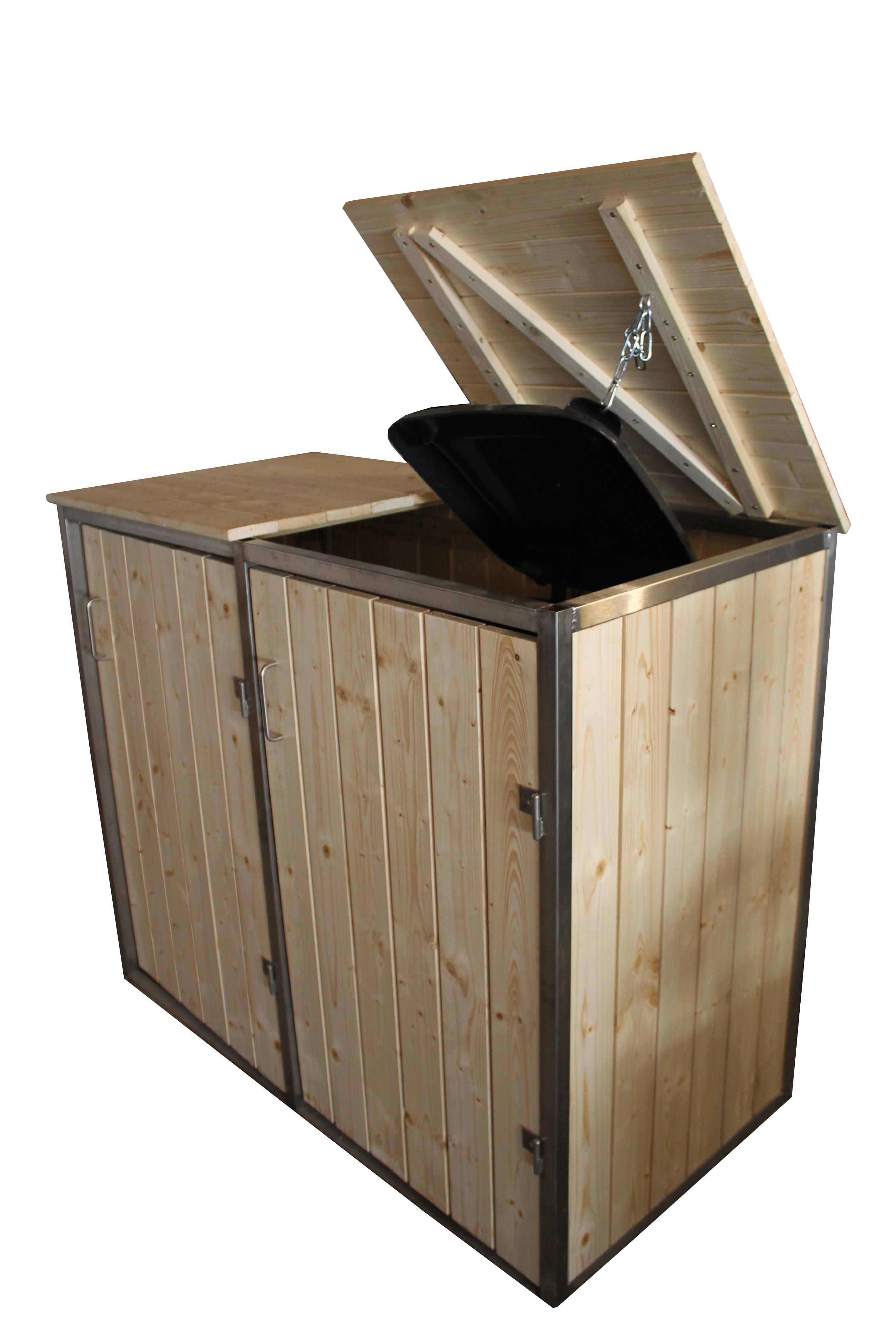 m lltonnenbox m lltonnenhaus aus edelstahl und holz 2x 120 liter stahl moor. Black Bedroom Furniture Sets. Home Design Ideas