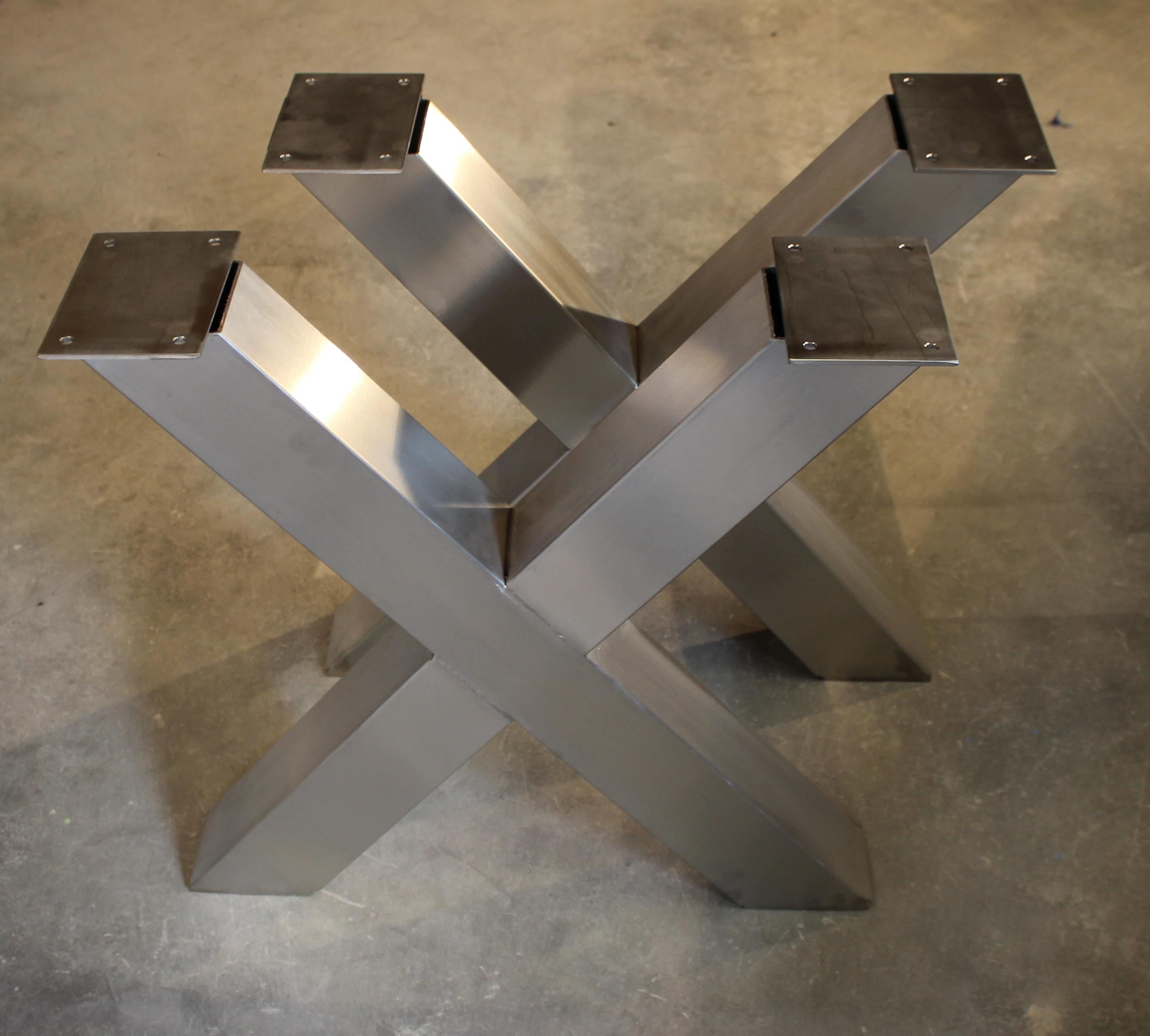 2 Set Design Tischkufen Tischbeine Xx Form Edelstahl Tischfusse